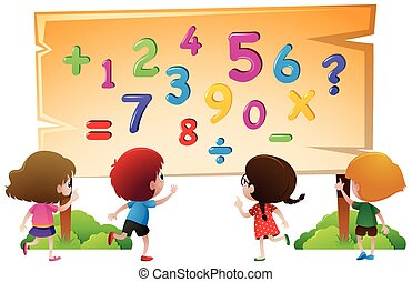 Kids and numbers on wooden board