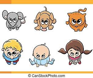 kids and pets cartoon set