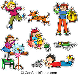kids and pets - happy kids with their pets