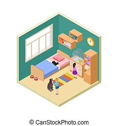 Kids and pets. Girl, boy with cat, dog and bird. Isometric kids room interior vector illustration