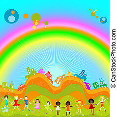 kids and rainbow - Group of kids playing, cars caravan cars...