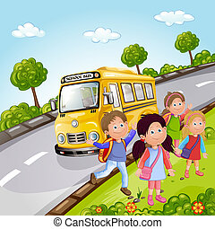 Kids and school bus in nature