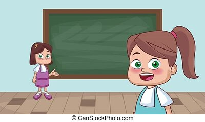 Kids and school HD animation - Beautiful school girls front...