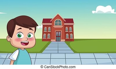 Kids and school HD animation - Cute boy smiling outside...
