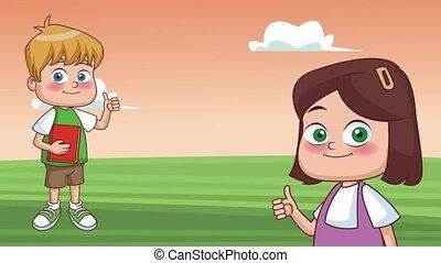 Kids and school HD animation