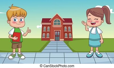 Kids and school HD animation - Cute student kids outside...