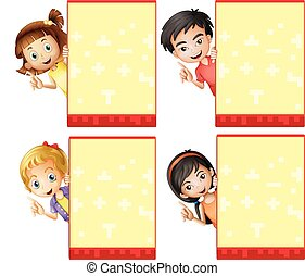 Kids and signs - Illustration of children with a blank signs