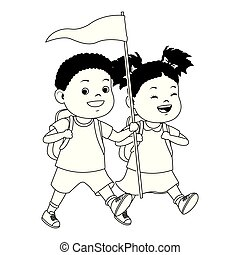 Kids and summer camp cartoons in black and white