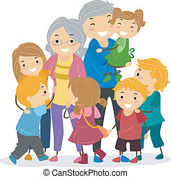 Kids and Their Grandparents - Illustration of Kids Trying to...