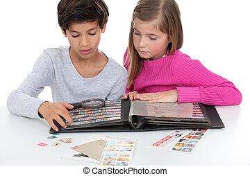 kids and their stamp collection