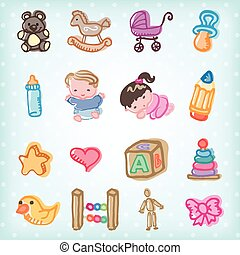 Kids and toys - Cute illustration of kids and baby toys