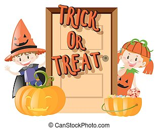 Kids and trick or treat on halloween night