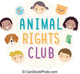 Kids Animal Rights Club Illustration - Colorful Illustration...