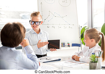 Kids are acting as business people
