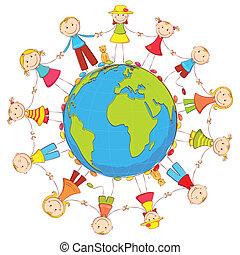 Kids around Earth - illustration of kids joining hand...