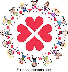 kids around four hearts