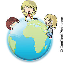 Kids around globe. Vector design.