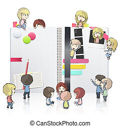 Kids around open white notebook with several elements...