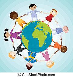 Kids around the Globe - illustration of kids of different...