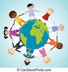 illustration of kids of different nation joing hand standing around the globe