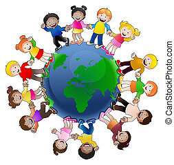 kids around the World - illustration of multi-cultural...