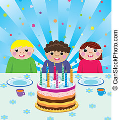 kids at birthday party - happy kids at birthday party