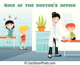 Kids At Doctors Office Cartoon Illustration
