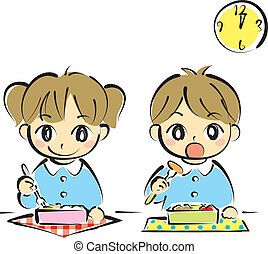 kids at lunchtime, vector file