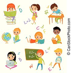 Kids at school set, cute boys and girls at lesson of geography, literature, mathematics vector Illustrations on a white background