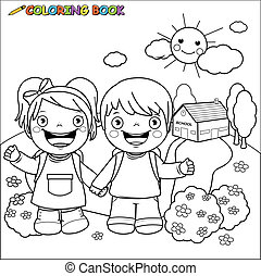 Kids at school. Vector black and white coloring page