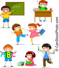 kids at school - set of kids doing different things at...