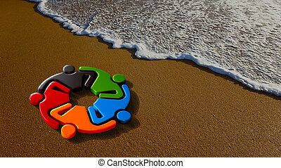 Kids at the beach Together. 3D Rendering illustration