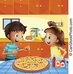Kids at the kitchen with a whole pizza at the table