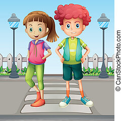 Kids at the pedestrian lane - Illustration of kids at the...