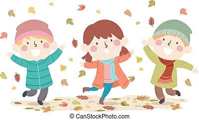 Kids Autumn Leaves Fall Illustration