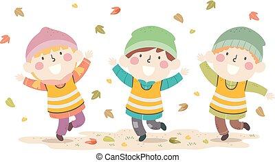 Kids Autumn Nature Leaves Play Illustration