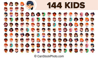 Kids Avatar Set Vector. Girl, Guy. Multi Racial. Face...