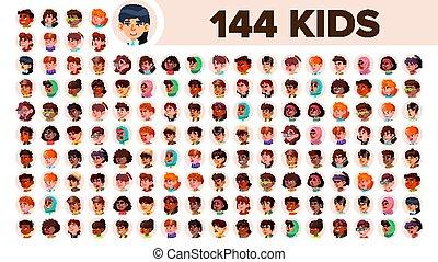 Kids Avatar Set Vector. Girl, Guy. Multi Racial. Face...