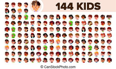 Kids Avatar Set Vector. Multi Racial. Face Emotions....