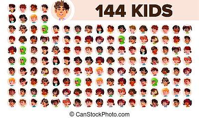 Kids Avatar Set Vector. Multi Racial. Face Emotions....