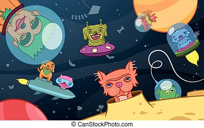 Kids background of space aliens