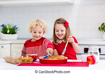 Kids baking apple pie - Cute kids, adorable little girl and...