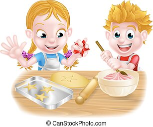 Kids Baking Cakes and Cookies