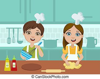 Kids Baking Cookies, Cute Boy and Girl Cooking in the Kitchen, Kids Culinary Class Vector Illustration