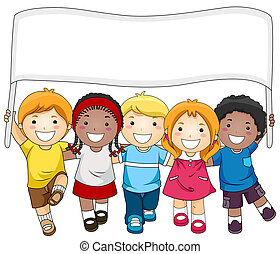 Kids Banner - A Small Group of Kids Marching While Carrying...
