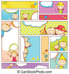 Kids Banner - illustration of set of kids banner in...