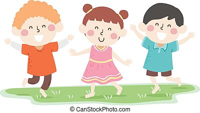 Kids Barefoot Grass Illustration