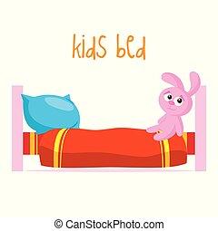 Kids bed Vector illustration