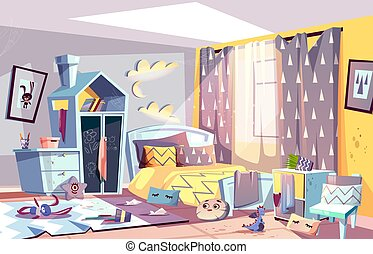 Kids bedroom in mess cartoon vector illustration