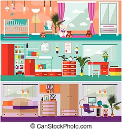 Kids bedroom interior in flat style. Vector illustration. House room design elements and icons